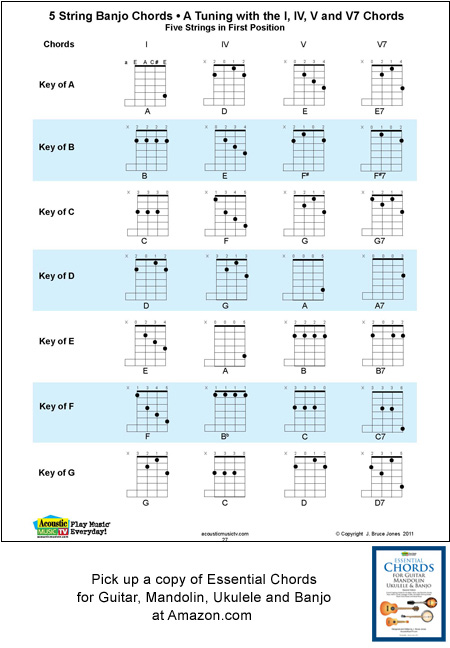 String Banjo Chords And Keys A Tuning E A C E