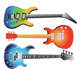 3 Electric Guitars, bass, country, rock n roll,