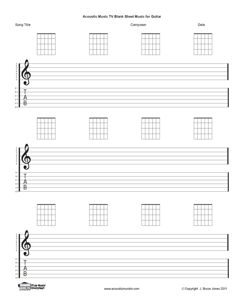 Guitar Sheet Music, Staff and Tab, Acoustic Music TV
