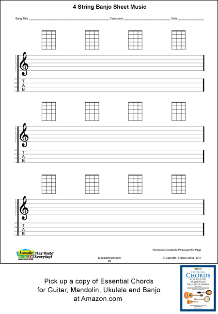 image regarding Mandolin Chord Charts Printable known as Banjo Blank Printable Sheet Audio, Acoustic Audio Television set