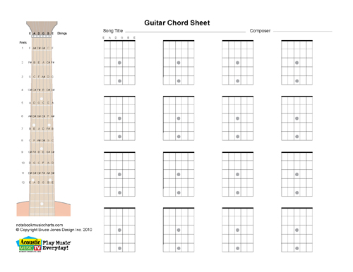 photo relating to Printable Fretboard named Guitar Blank Printabl Chord Bins, Horiz. Acoustic Tunes Television