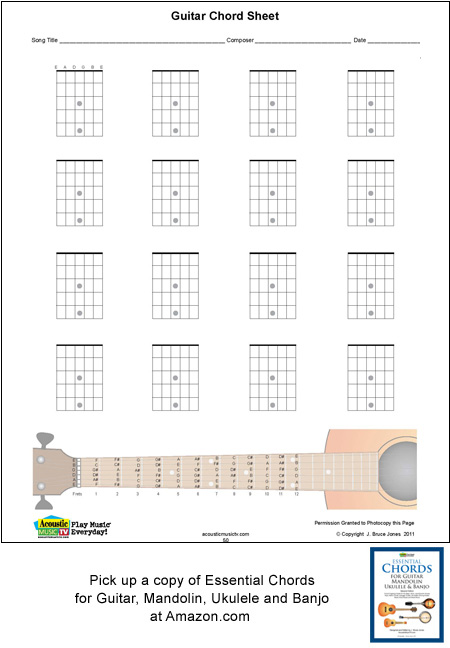 image relating to Mandolin Chord Charts Printable referred to as Guitar Blank Printable Chord Bins, VerticalAcoustic Tunes Tv set