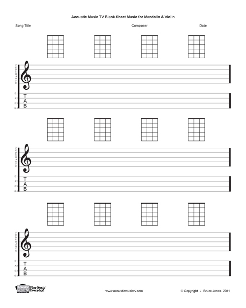 image about Mandolin Chord Charts Printable titled Mandolin Blank Printable Sheet Songs, Acoustic Audio Television set